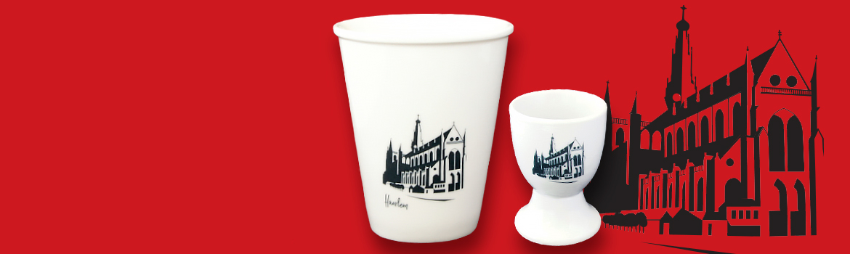 Unieke beker / mok met illustratie van de Grote of St.- Bavokerk van Haarlem