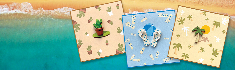 Unieke zomerse wenskaarten met envelop. Een wenskaart met een Palmboom, een wenskaart met teenslippers, een wenskaart met een cactus en een wenskaart met een zeilbootje