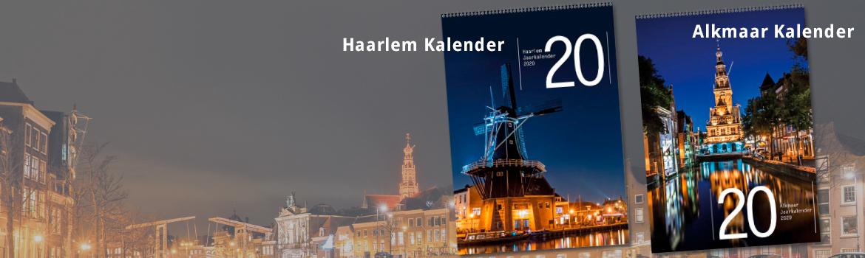 Unieke Jaarkalender 2020 van Haarlem  + Unieke Jaarkalender 2020 van Alkmaar A3 formaat geheel in kleur