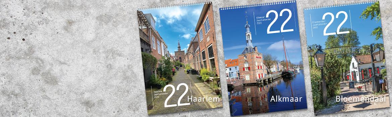 kalender 2022 Haarlem  + kalender 2022 Alkmaar A3,  Kalenders 2022 formaat geheel in kleur kalender 2022 Bloemendaal