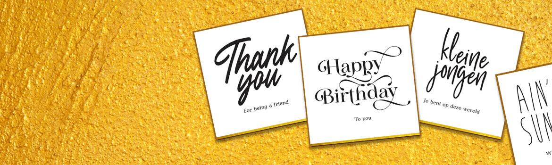 postkaarten in zwart wit en goudfolie. Kaarten met leuke teksten in zwart, goudfolie met envelop
