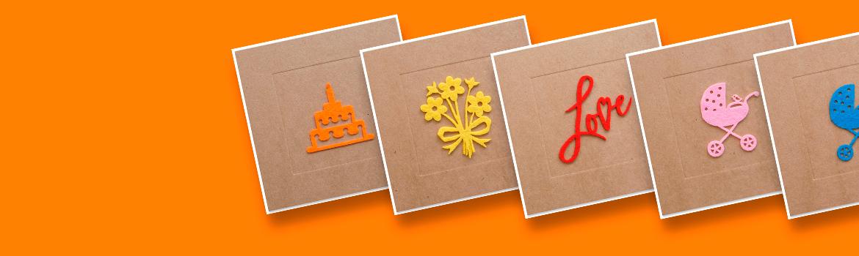 unieke wenskaarten op kraft karton met handgeplakte vilten illustraties. Taart, feest, kinderwagen, boeket en beterschap