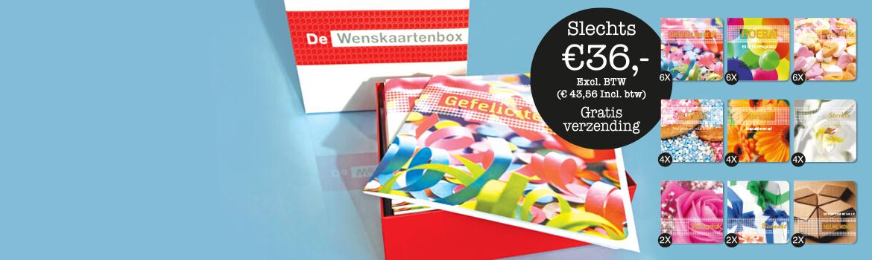 Voordelige mooie wenskaartenbox met 36 luxe wenskaarten en envelop