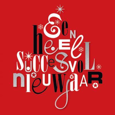 Zakelijke Nieuwjaarskaart met typografische kerstboom.