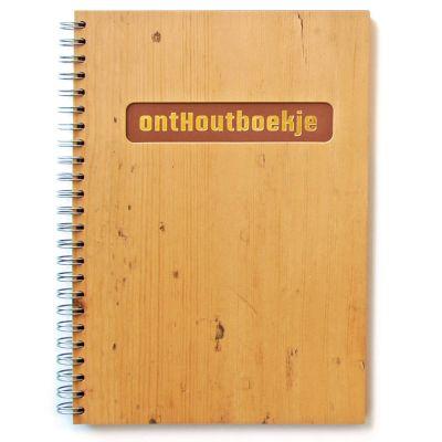 Notitieboek A5 met hout omslag en goudfolie