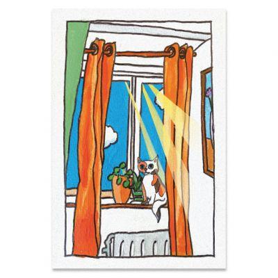 Ansichtkaart poesje in de zon bij het raam