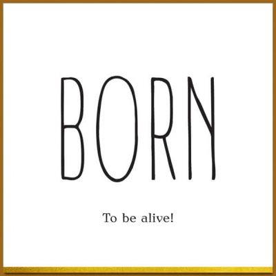 Felicitatiekaartje geboorte in zwart wit en goud