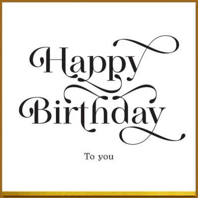 Verjaardagskaart zwart wit en goud, Happy birthday
