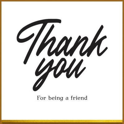 Bedankt kaart in zwart wit en goud, thank you