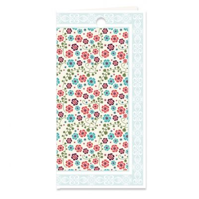 Dubbel kado- of bloemkaartje met bloemetjes motief in blauwgroen, verpakt per 3 ex.