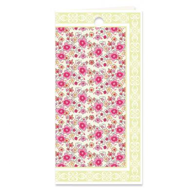Dubbel kado- of bloemkaartje met bloemetjes motief in grasgroen en roze, verpakt per 3 ex.