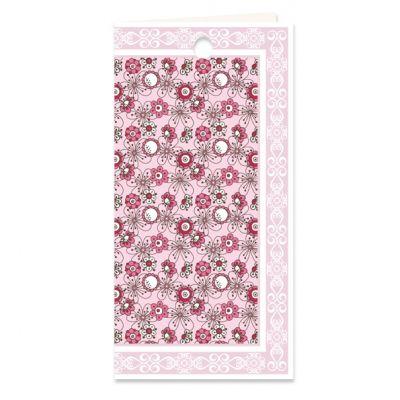 Dubbel kado- of bloemkaartje met bloemetjes in roze, verpakt per 3 ex.