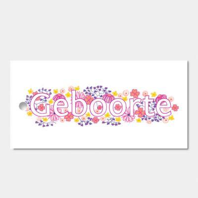 Kado- of bloemkaartje bij geboorte meisje, set van 3
