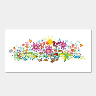 kado- bloemkaartje zonder tekst, set van 3