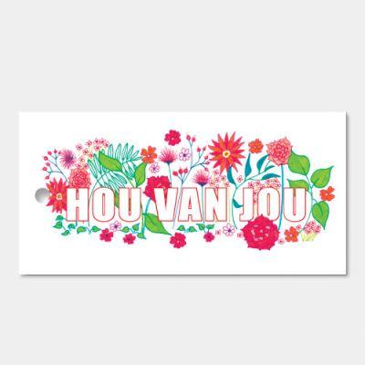 Kado- of bloemkaartjes Hou van jou in set van 3 kaartjes