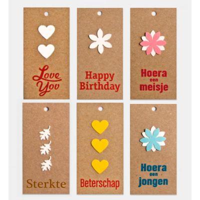 Assorti bloemkaartjes   Kraft handgemaakt
