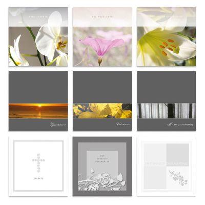 Condoleancekaarten serie met bloemen, natuur of rozen