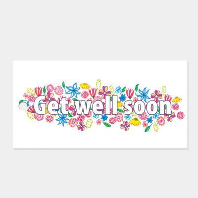 kado- of bloemkaartje 'Get well soon', set van 3