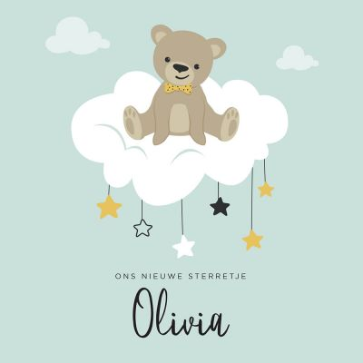 Geboortekaartje meisje met lief beertje op wolk