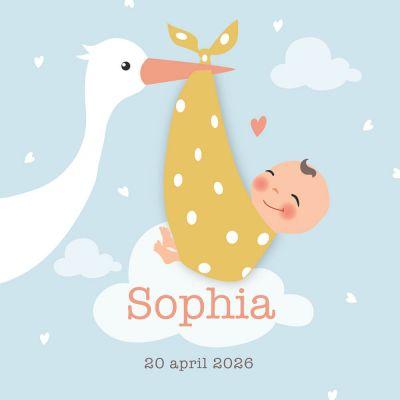 Geboortekaartje meisje, dochtertje met ooievaar