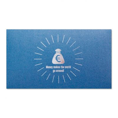 Geld-kado-envelop 'Money makes the world go around' blauw