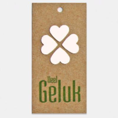 Kado- of bloemkaartje op kraft karton, Veel Geluk, per stuk