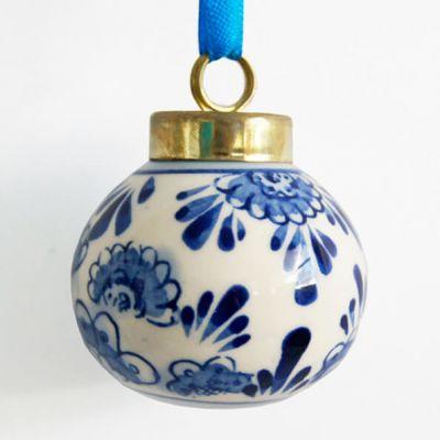 kerstbal klein delfstblauw keramiek