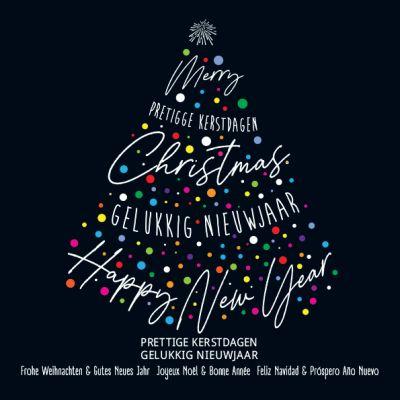 Kerstkaart met typografische kerstboom en fel gekleurde balletjes, internationale kerstwensen