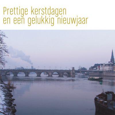 kerstkaart Maastricht met Sint Servaasbrug over de Maas
