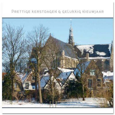 kerstkaart Alkmaar met besneeuwde Laurenskerk.