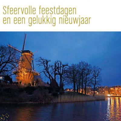 Sfeervolle kerstkaart van Alkmaar, Molen de Piet