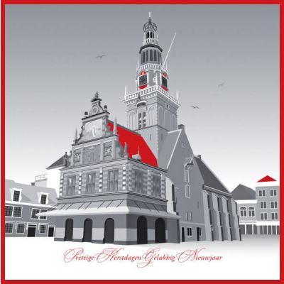 Kerstkaart  Alkmaar met illustratie van de Waag