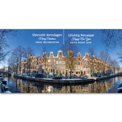 Kerstkaart Amsterdamse Grachtenpanden