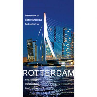 Kerstkaart Rotterdam Erasmusbrug verlicht