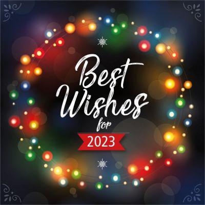 Kerstkaart 'Best Wishes', gekleurde kerstlichtjes en jaartal