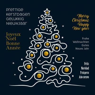 Internationale kerstkaart in goud, wit en zwart met kerstboom