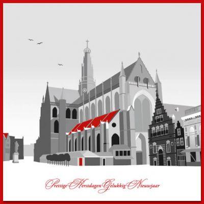 Haarlemse kerstkaart met mooie illustratie van Grote Markt met de Bavokerk.