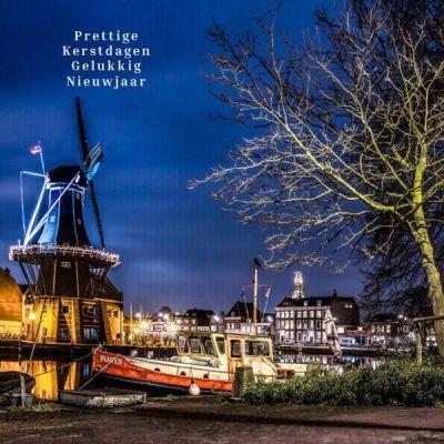 Haarlemse kerstkaart Molen Adriaan en Bakenesserkerk