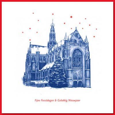Kerstkaart van Haarlemse Grote of St. Bavokerk, met envelop.