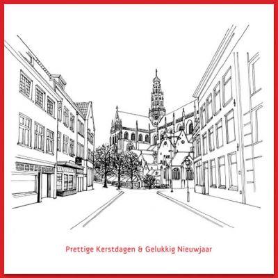 Kerstkaart Haarlem, tekening zicht op Bavokerk vanuit Damstraat