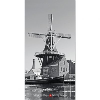 Molen de Adriaan bij ijs | Haarlem zwart-wit