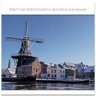Haarlemse kerstkaart met molen de Adriaan met ijs