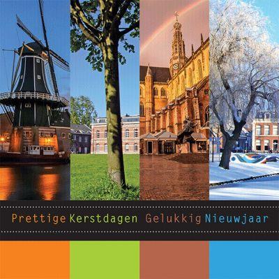Kerstkaart Haarlem jaargetijden, seizoenen