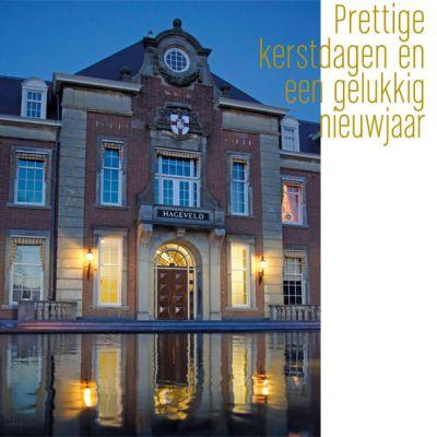 kerstkaart met Hageveld College in Heemstede, met envelop