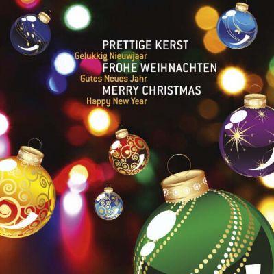 Kerstkaart met allerlei kleurrijke kerstballen, kerstwens in meerdere talen