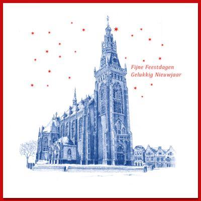 Kerstkaart van Schagen, kerk op de Markt