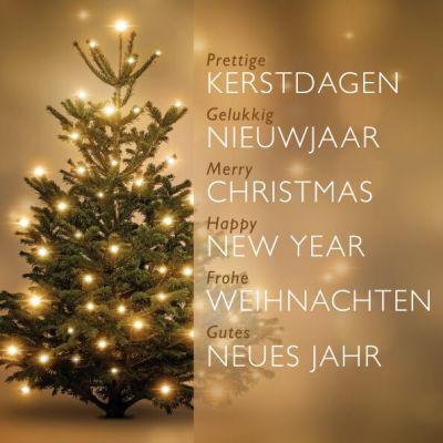 kerstkaart gouden kerstboom, in engels, duits en nederlands