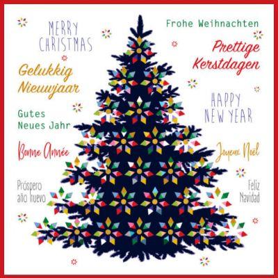 Zakelijke Luxe kerstkaart met kerstboom en internationale kerstteksten.