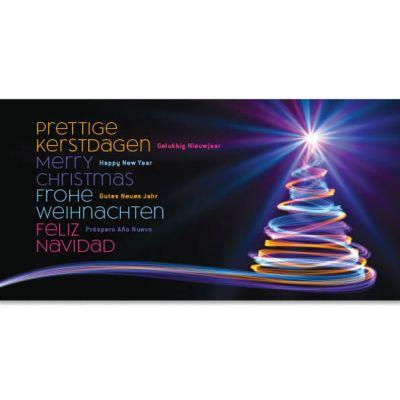 kerstkaart internationaal (nl, eng, d, es) kerstboom