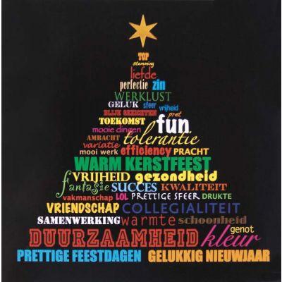 Kleurrijke kerstkaart met allerlei zakelijke wensen